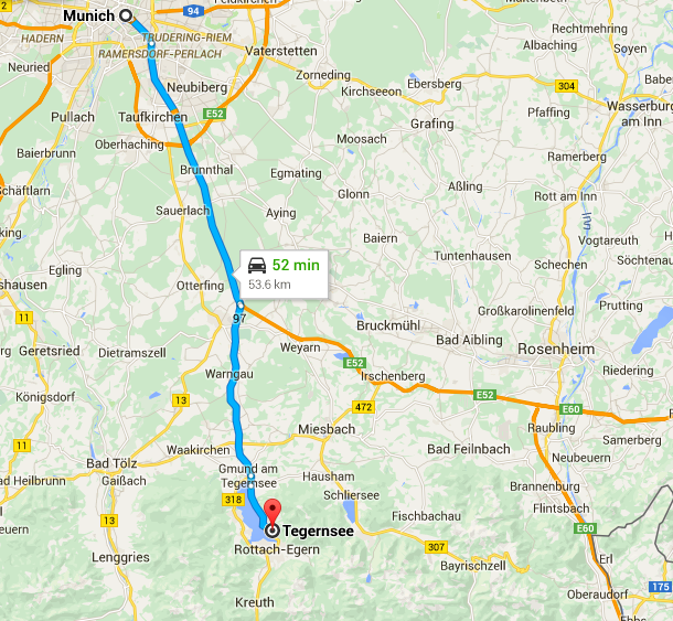 Münih - Tegern Gölü arabayla yaklaşık 50 dakika
